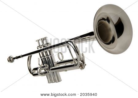 silver trumpet isolated on white close up poster