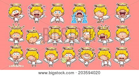 Set kit collection sticker emoji emoticon emotion vector isolated illustration happy character sweet divine entity cute heavenly angel, saint spirit, wings, radiant halo pink background for mobile app