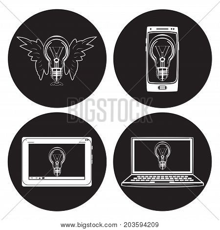 Vector light bulb icon set. Smartphone, digital tablet and laptop with light bulb. Creative idea concept. Flat style design.