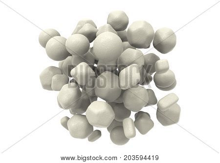 Zinc oxide nanoparticles, 3D illustration. ZnO nanoparticles have application as biosensors, in drug delivery, cosmetics, optical and electrical devices, solar cells and other areas