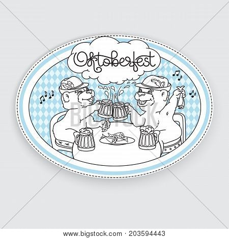 Oktoberfest card. Vector Emblem with a bear, beer, fish and handwritten word Oktoberfest. Graphic logo on gray background. Two bears in friendly conversation over a beer.
