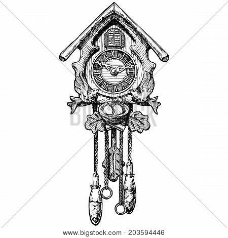 Illustration Of Old Cuckoo Clock