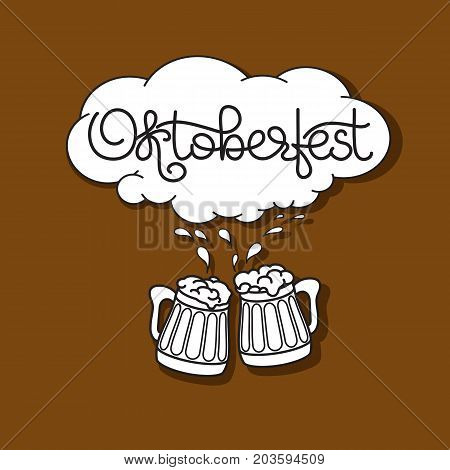 Oktoberfest card. Handwritten text Oktoberfest, Beer mug and froth isolated on brown background. Vector illustration. Template for banner, poster, invitation, merchandising, gift card.