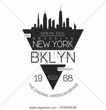 New York, Brooklyn Modern Typography For T-shirt Print. New York Skyline Silhouette. T-shirt Graphic