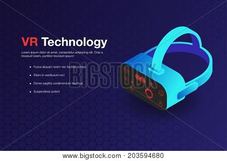 Virtual Reality Technology Background. Isometric Virtual Reality Glasses With Hud Display Imitation