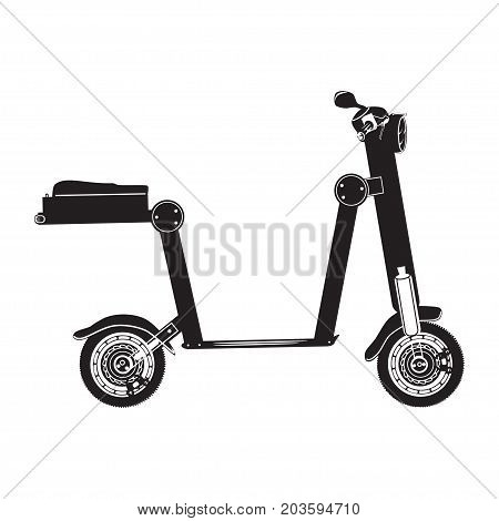 Vector illustration of electric folding scooter. Motorized scooter isolated on white background. City modern transport black and white flat style design.
