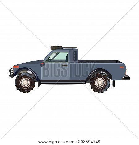 Vector illustration of pickup truck. Flat style design.
