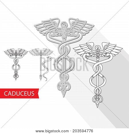 Caduceus Medical Symbol. Vector illustration of a snake and staff isolated on white. Pharmacy icon.