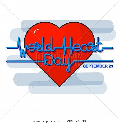 World Heart Day Background. Vector illustration with heart and text heartbeat, electrocardiogram.