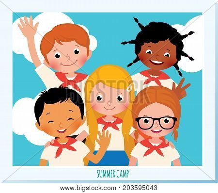 Polaroid Photo Group Of Happy Children Of Different Nationalities In The Summer Camp. Stock Vector C