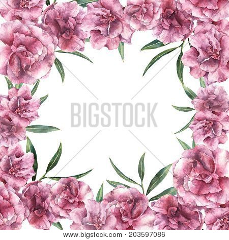 Watercolor floral tropic card. Hand painted border with oleander flowers with leaves and branch isolated on white background. Botanical illustration for design, print, fabric