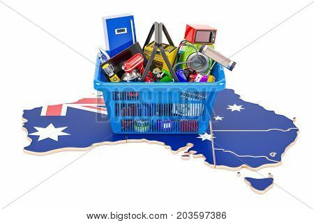 Map of Australia with shopping basket full of home and kitchen appliances 3D rendering