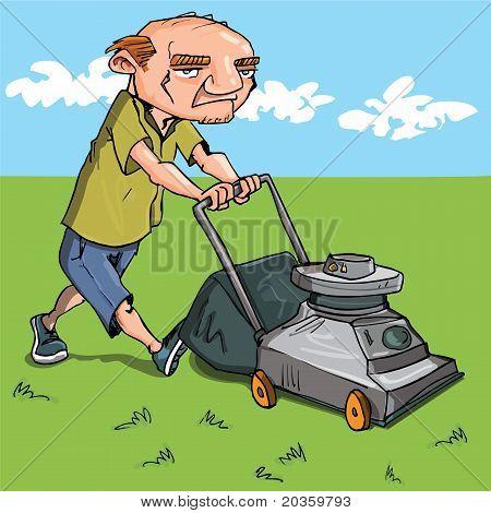 Cartoon Man Mowing His Lawn