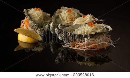 Seafood On A Black Background