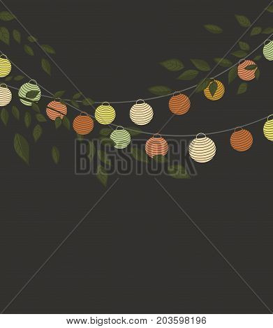 Vector illustration of leaves with colored lantern chain. Invitation card, party celebration