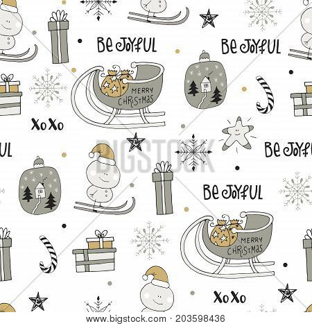 Cute Winter Hand Drawn Seamless Pattern With Christmas Elements. New Year Vector Illustration