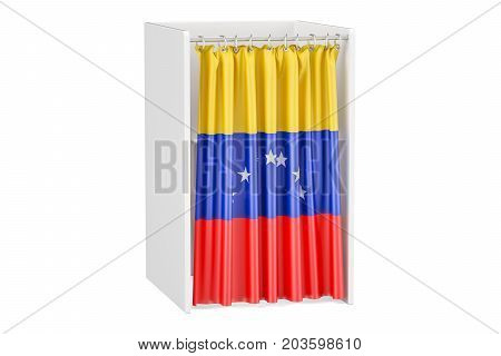 Vote in Venezuela concept voting booth with Venezuelan flag 3D rendering isolated on white background