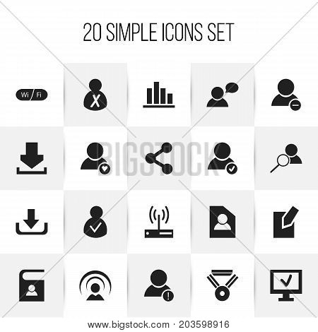 Set Of 20 Editable Internet Icons. Includes Symbols Such As Log In, Line Chart, Computer And More