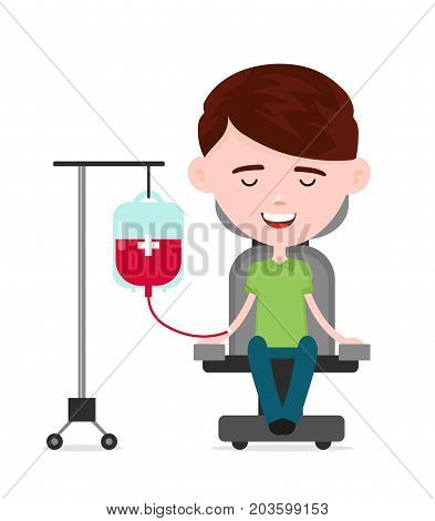 Young happy man donor, a person donates blood, charity blood donation concept.Vector flat cartoon illustration character icon.Isolated on white background.