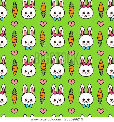 Cute boy and girl rabbit. bunny face seamless pattern. Vector modern line outline flat style cartoon character illustration. Isolated on green background. Carrot, hearts and rabbit face