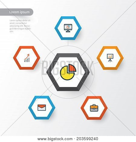 Trade Colorful Outline Icons Set. Collection Of Financial Profit, Pie Chart, Billboard Presentation And Other Elements