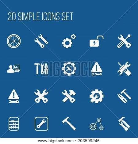 Set Of 20 Editable Toolkit Icons. Includes Symbols Such As Pliers Hammer, Settings, Cambelt And More