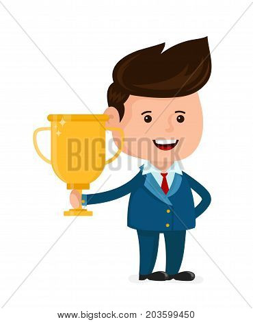 Young happy smiling businessman with gold trophy cup. Vector flat cartoon character illustration icon.Isolated on white background. Business success,winner,victory concept