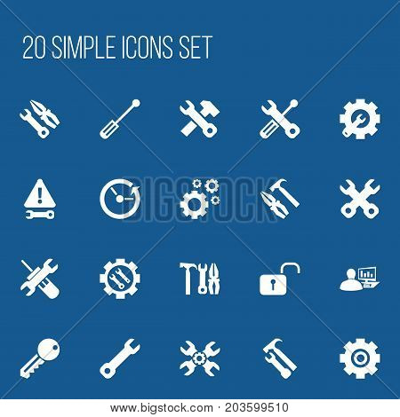 Set Of 20 Editable Repair Icons. Includes Symbols Such As Wrench Hammer, Access, Computer Statistics And More