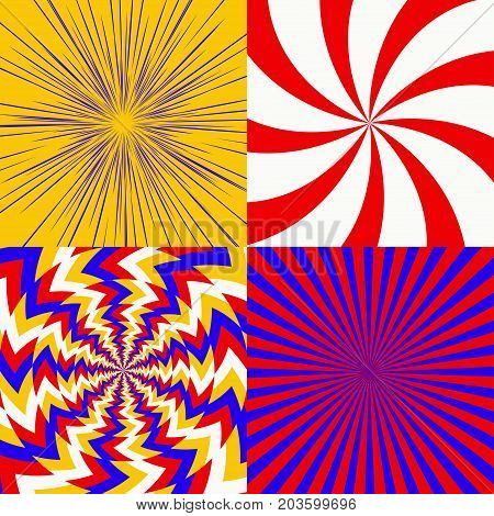 Set of psychedelic spiral with radial rays, optical spin, twisted cosmics effect, vortex backgrounds vector
