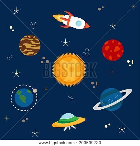 Solar system, spaceship, spacecraft, rocket, planets, comets, stars set. Vector illustration