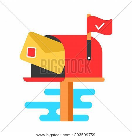 Mail box with letter. Vector flat cartoon illustration icon.Isolated on white background. New letter concept