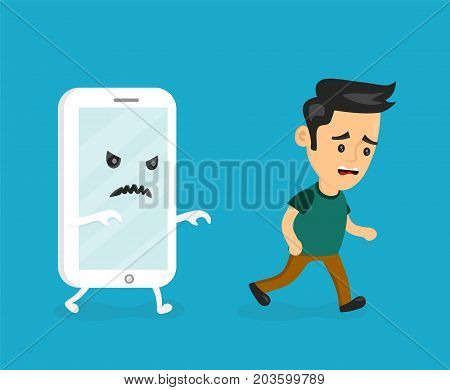 Angry scary smartphone run for young man. Vector modern flat style cartoon creative character illustration icon. Phone, internet, smartphone, mobile addiction concept