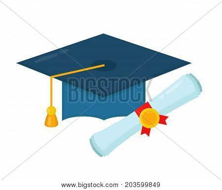 Graduation cap and diploma rolled scroll. Vector flat cartoon illustration character icon.Isolated on white background. Finish education, Graduate hat and scroll. student concept