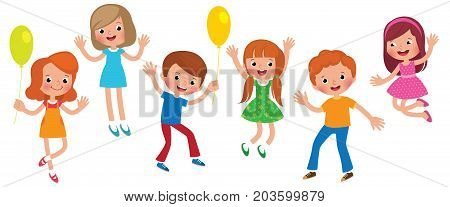 Group Of Jumping Children Isolated On White