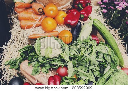 Fall harvest of vegetables. Organic farmers food market place. Fresh products - vegetables on sale at the local market, close-up, top view