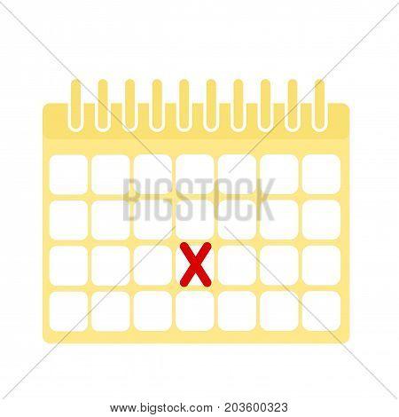 Calendar flat icon. Daily reminder. Month reminder.