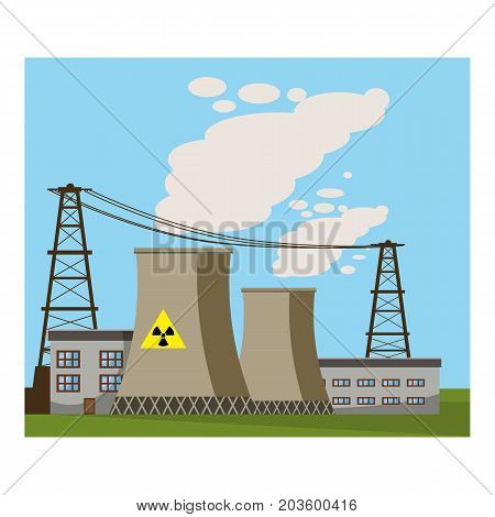 Nuclear power plant icon. Cartoon illustration of nuclear power plant vector icon for web