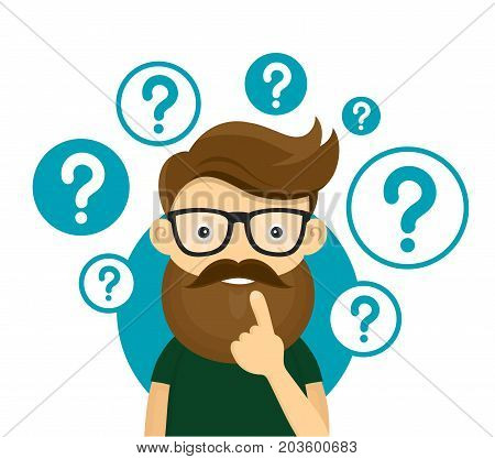 Young hipster business man thinking standing under question marks.Young hipster business man thinking.Thinking business man surrounded by question marks.Vector flat cartoon iluustration character icon