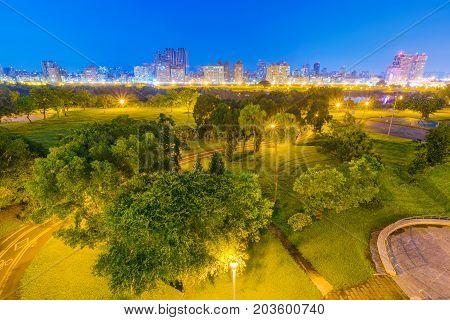 Night view of Guting riverside park in Taipei