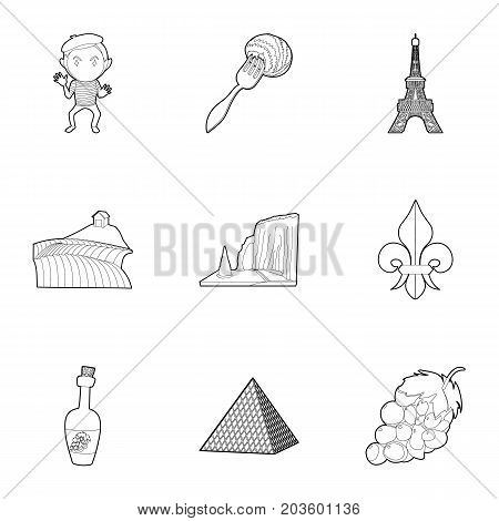 French sights icons set. Outline set of 9 french sights vector icons for web isolated on white background