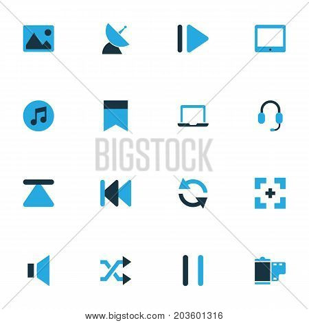 Media Colorful Icons Set. Collection Of Rewind, Headset, Silence And Other Elements