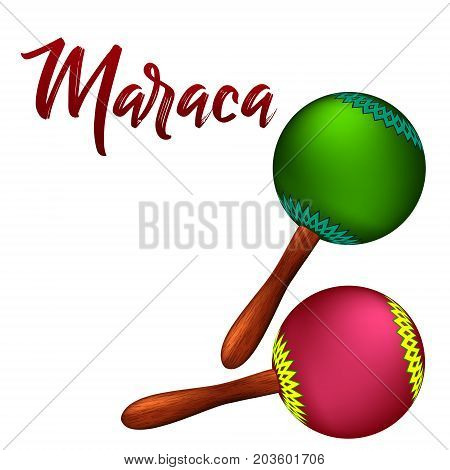 Realistic maracas. Vector illustration on a white background