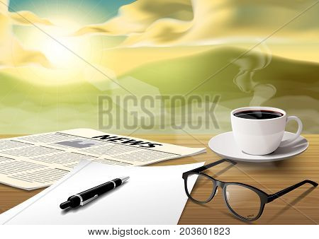 coffee cup-sheet-pen-news paper-glass on wooden table on the morning