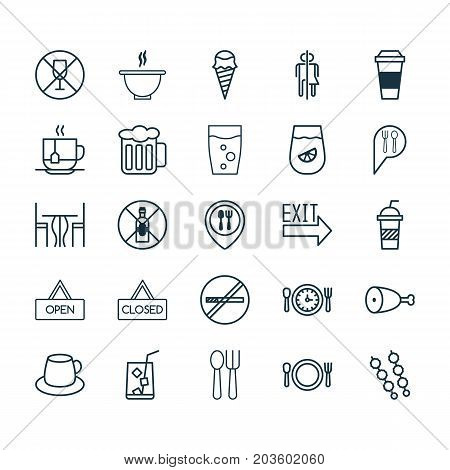 Restaurant Icons Set. Collection Of Food Mapping, Board, Sundae And Other Elements