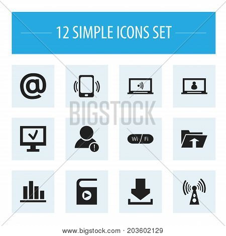 Set Of 12 Editable Network Icons. Includes Symbols Such As Monitor, Account, Line Chart And More