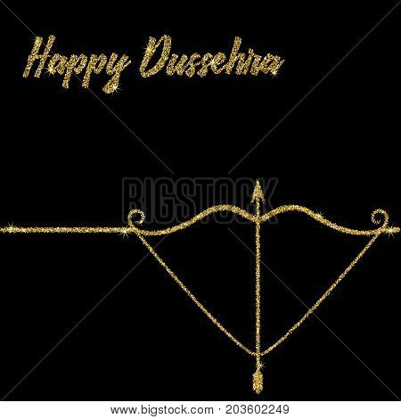 Happy Dussehra. Vector illustration of a bow and arrow to an Indian holiday. The inscription is sequins on a white background.