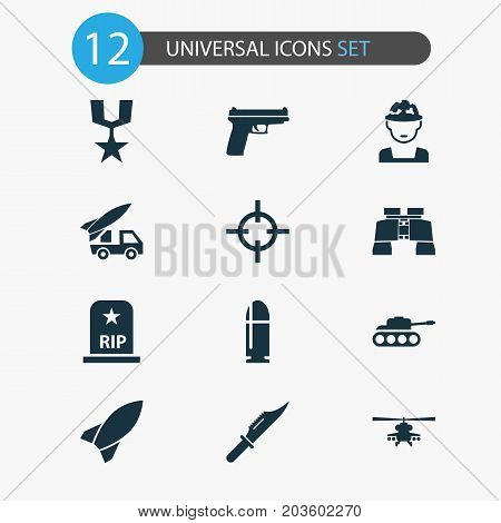 Warfare Icons Set. Collection Of Order, Chopper, Rip And Other Elements