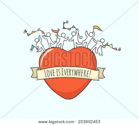 Sketch of big heart with cute little people. Doodle cute miniature romantic scene about love. Hand drawn cartoon vector illustration for valentine day design.