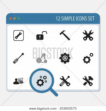 Set Of 12 Editable Mechanic Icons. Includes Symbols Such As Handle Hit, Cambelt, Gear
