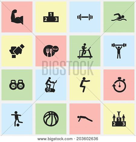 Set Of 16 Editable Fitness Icons. Includes Symbols Such As Platform For Winner, Basket Play, Competition And More
